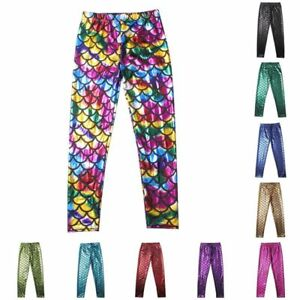 5-12Y-Child-Kid-Girl-Fish-Scale-Mermaid-Skinny-Leggings-Elastic-Pants-Trousers