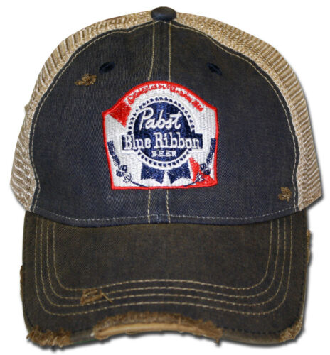 Pabst Blue Ribbon Retro Brand Distressed PBR Beer Trucker Hat Official Licensed