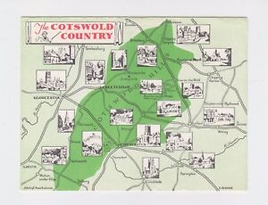Unused-Map-Postcard-of-The-Cotswold-Country