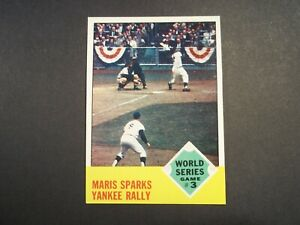 1963 TOPPS Baseball #144 World Series Game 3  Roger Maris NY Yankees  EX/NM