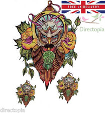 Large 3D Waterproof Steampunk Wise Owl Clock Time Temporary Tattoo UK 3 Pieces