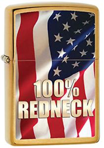 100% Redneck Drapeau Américain Patriotique Vieux Glory Solide Laiton Zippo Léger