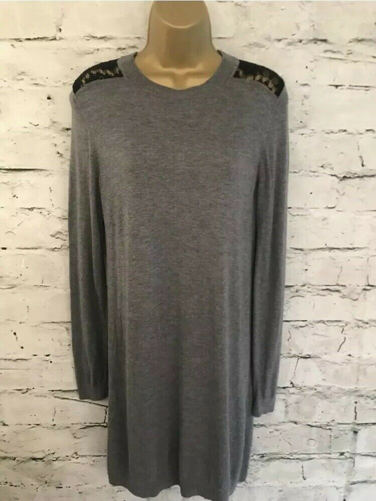 Whistles Ladies grau Lace Back Knitted Dress RRP