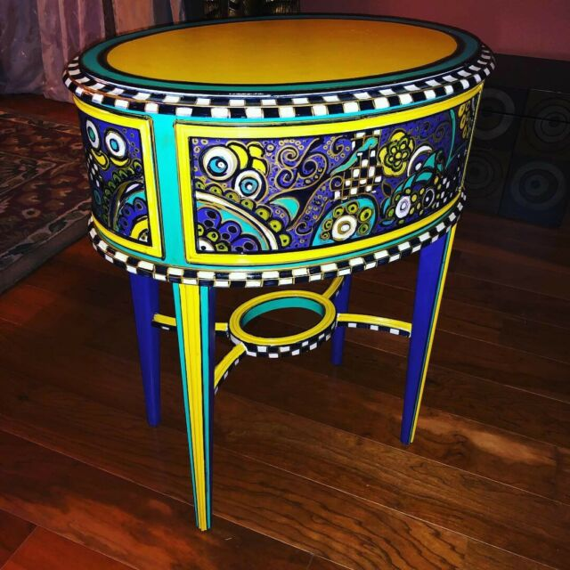Marvelous Mckenzie Childs Replica Hand Painted Side End Accent Table Funky Whimsicle Ibusinesslaw Wood Chair Design Ideas Ibusinesslaworg