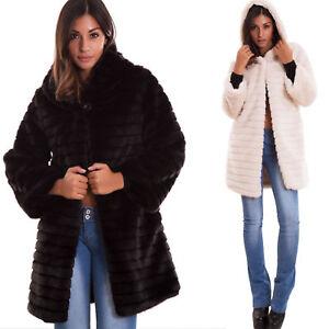 low priced a06ab 5bdcd Dettagli su Pelliccia ecologica donna bottone cappuccio cappotto maniche  lunghe nuova 16009