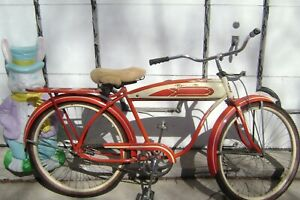 POSTWAR RED ROADMASTER BICYCLE-SKIP-TOOTH-LARGE TANK-6 HOLE LUGGAGE RACK-SCHWINN