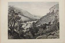 Nablus-Palestine-Middle East : c.1880 Antique B/W Print Steel Engraving