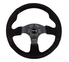 NRG Innovations Race Series Steering Wheel Black Suede Black Spokes - RST-012S