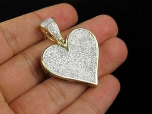 14k-Yellow-Gold-Plated-1-Ct-Sim-Diamond-Love-Heart-Charm-Pendant-Necklace