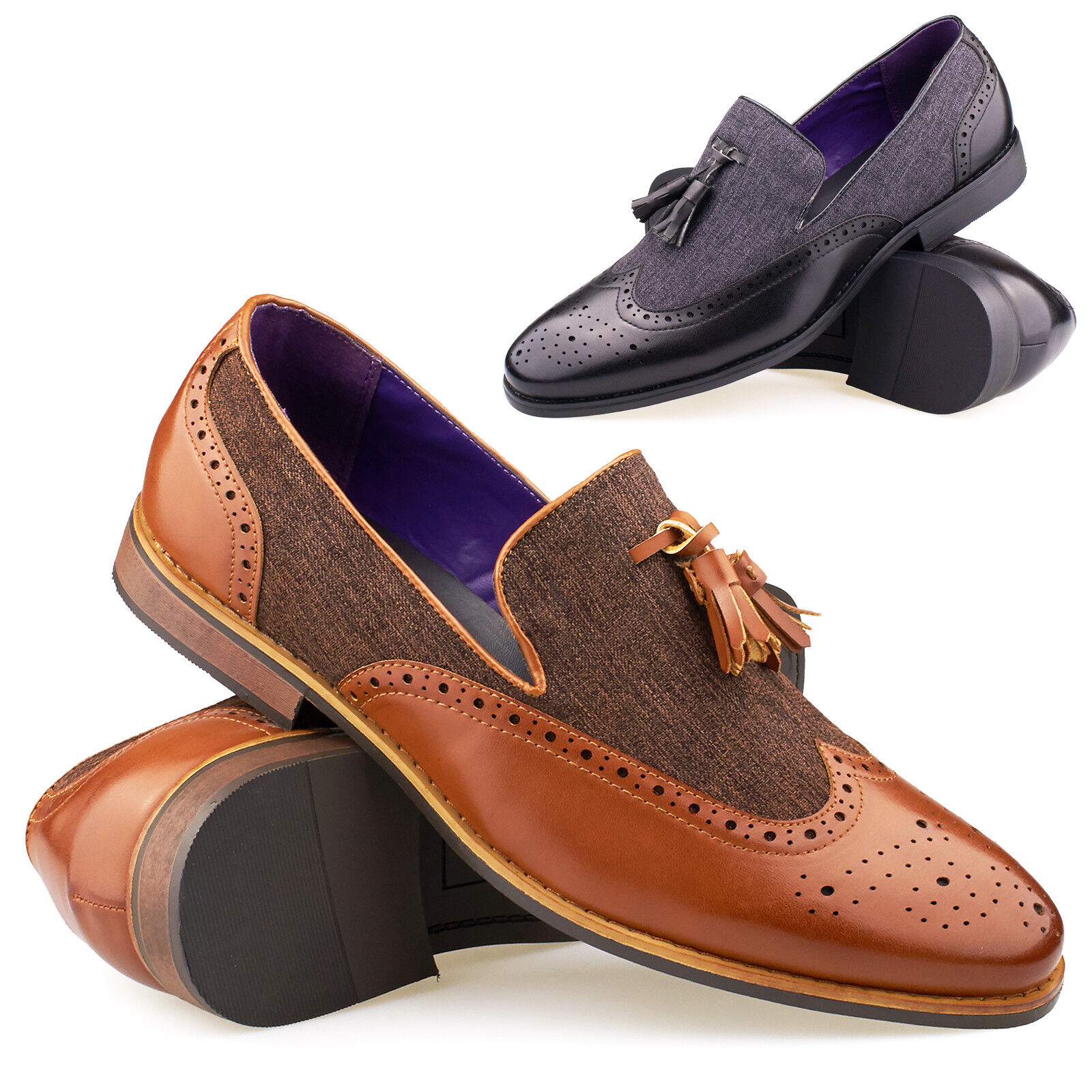 New Mens Leather Slip On Tassel Loafers Smart Casual Formal Fashion shoes 6-11