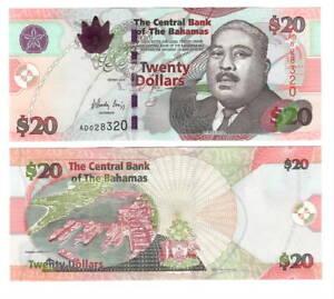 BAHAMAS-UNC-20-Dollars-CRISP-Series-Banknote-2010-P-74A-Paper-Money-AD-Prefix