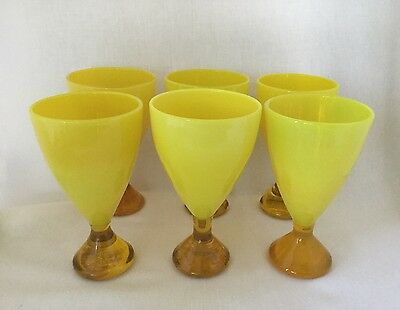 6 Mid Century Modern Yellow Cased Glass Water Goblets Stemware-Murano.     *2694