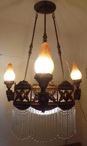 xxl antike jugendstil deckenlampe messing kronleuchter glasst be 4 flammen ebay. Black Bedroom Furniture Sets. Home Design Ideas