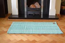Rug Bath Mat Teal Pistachio Green Cotton Silver Rayon 60cm x 90cm