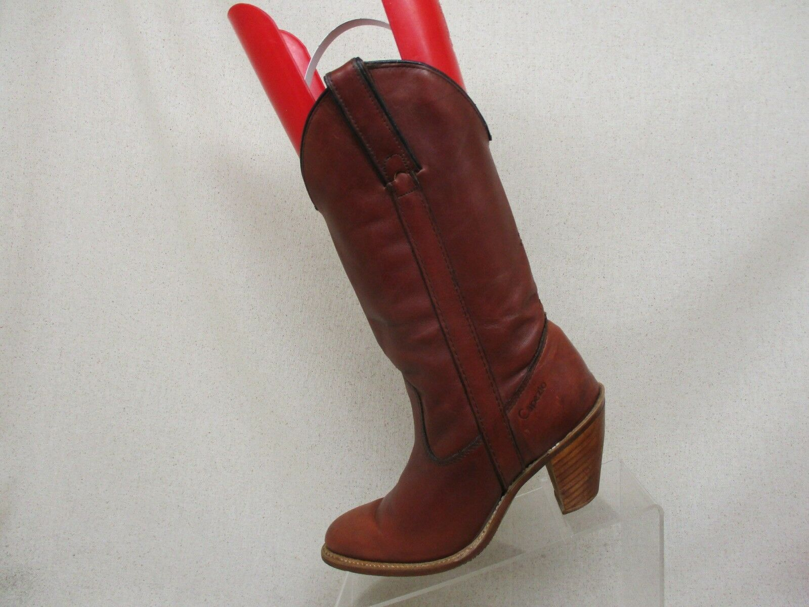 CAPEZIO Burgundy Leather High Heel Cowboy Boots Womens Size 5.5 M Style L703 USA