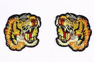 0473d94bb24 Tiger Embroidered Patch (1 Pair) Tiger Head Gucci Style T-shirt Iron ...