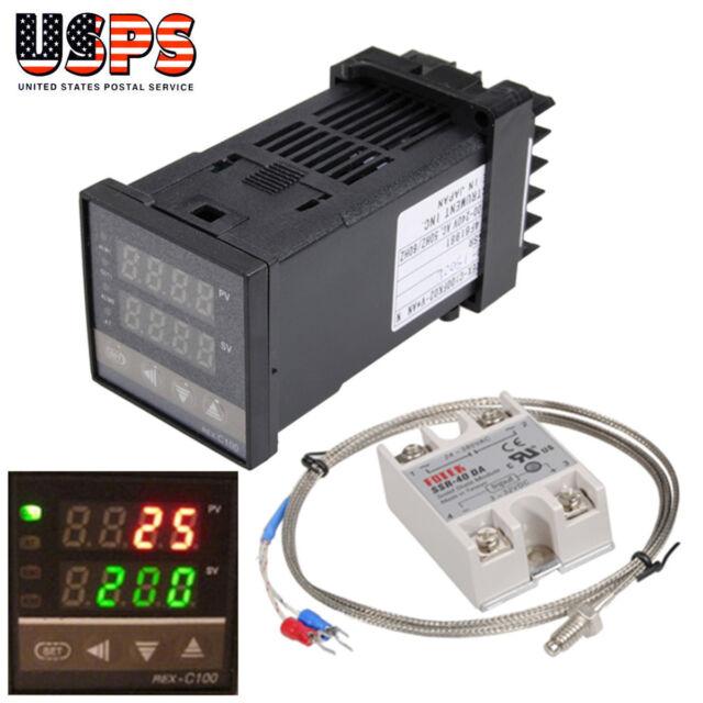 REX-C100 Digital PID Temperature Control + 40A SSR + 1M K Thermocouple Probe