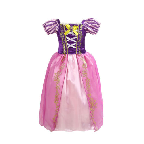 Kids Girls Princess Rapunzel Tangled Fancy Dress Up Costume Cosplay Party Outfit