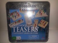 Classic Games Solid Wood Teasers 7 Different Brain Busters-ages 6+ New-sealed