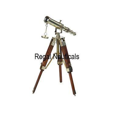Decorative Table Telescope With Wood Tripod Brass Nautical Classy Decorative Telescopes