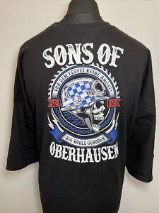 Hanes Sons Of Oberhausen Black Mens Biker Triumph Graphic Print T Shirt Tee 5XL