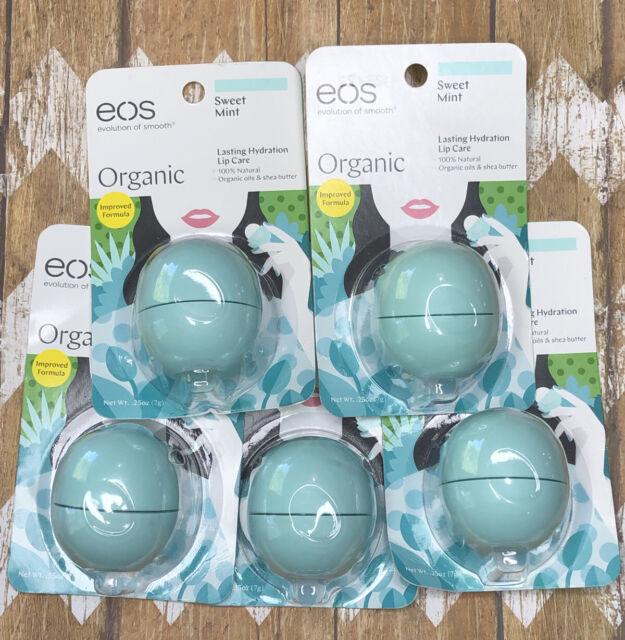 EOS Organic Sweet Mint Lip Balm Sphere Lasting Hydration Lip Care LOT x5
