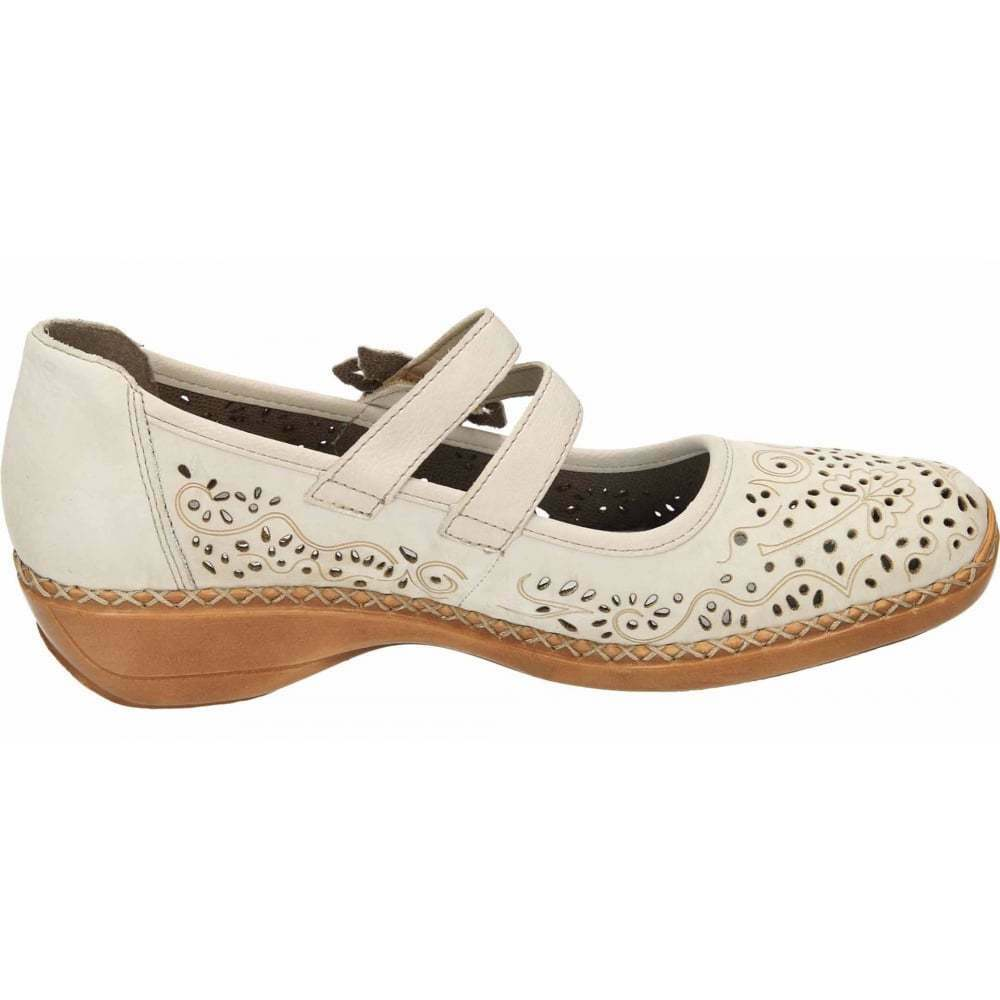 Rieker Flat Casual Leather Mary Jane Flat Rieker Cut Out Shoes 41372-60 90 Antistress ab91b3