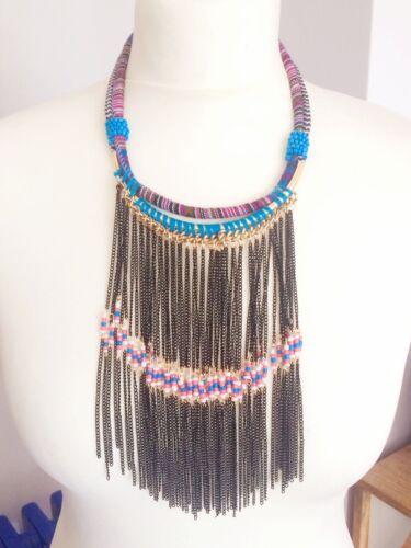 Cadena Collier remolque plumas collar de oro Boho ethno HIPPI tíbet plata