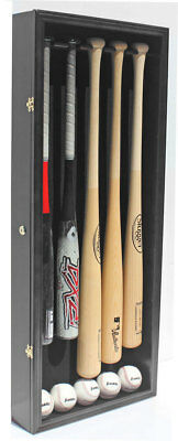 Pro Uv 5 Baseball Bat Display Case Holder Wall Cabinet Shadow Box B55-bla Bracing Up The Whole System And Strengthening It Autographs-original Display Cases