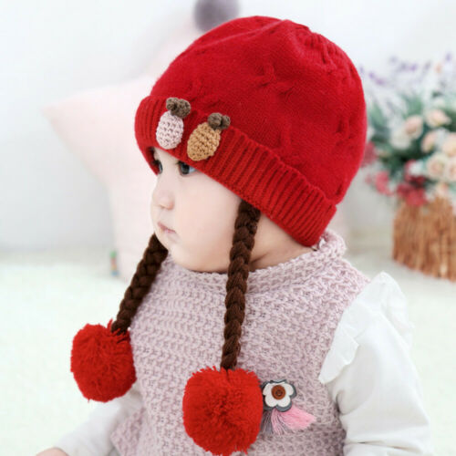 Toddler Lovely Warm Girl Baby Winter Braid Crochet Knit Hat Beanie Hairball Cap