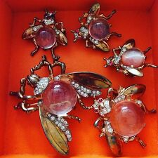 Trifari Signed Sterling Vermeil Bugs Family 3 Brooch 2 Earrings Jelly Belly Set!