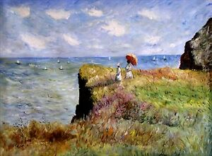 Stretched-Hand-Painted-Oil-Painting-Monet-Cliff-Walk-Pourville-Repro-36x48in