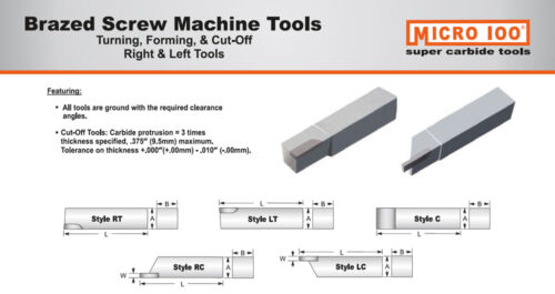 "RC-500060 RH Brazed Carbide Tip Cut-Off Tool 1//2/""Shank .060/""Width Micro-100 USA"