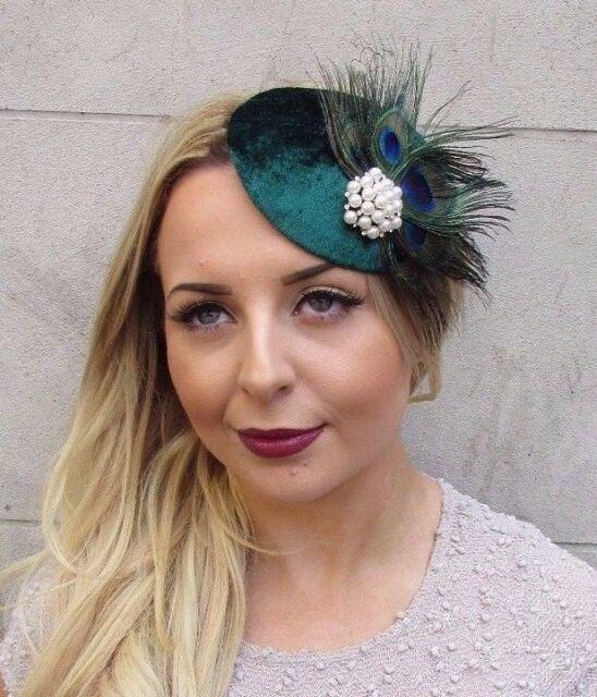 Dark Green White Peacock Feather Pillbox Hat Fascinator Hair Clip Vintage  2996 bd8a9d98d94