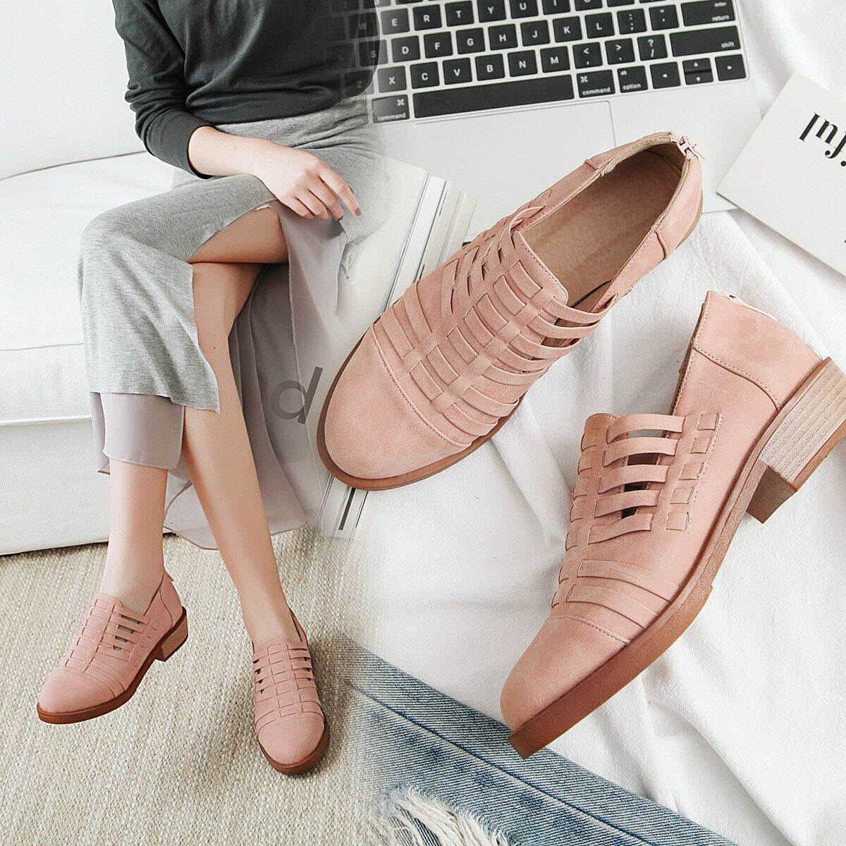 Flats Shoes Women's Casual European Loafers Mules Round Shoes Fashion