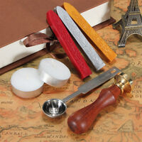Sealing Wax Stick Stamp Set Kit Vintage Wedding Party Invitation Seal 3 Patterns