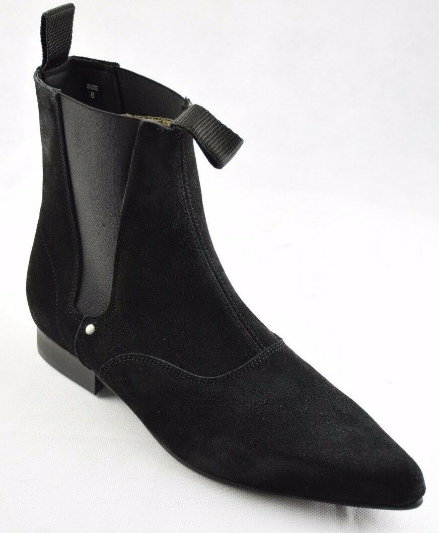 Steel Ground Black Suede Chelsea Boots Ankle Boot Winklepicker Sb003Z4