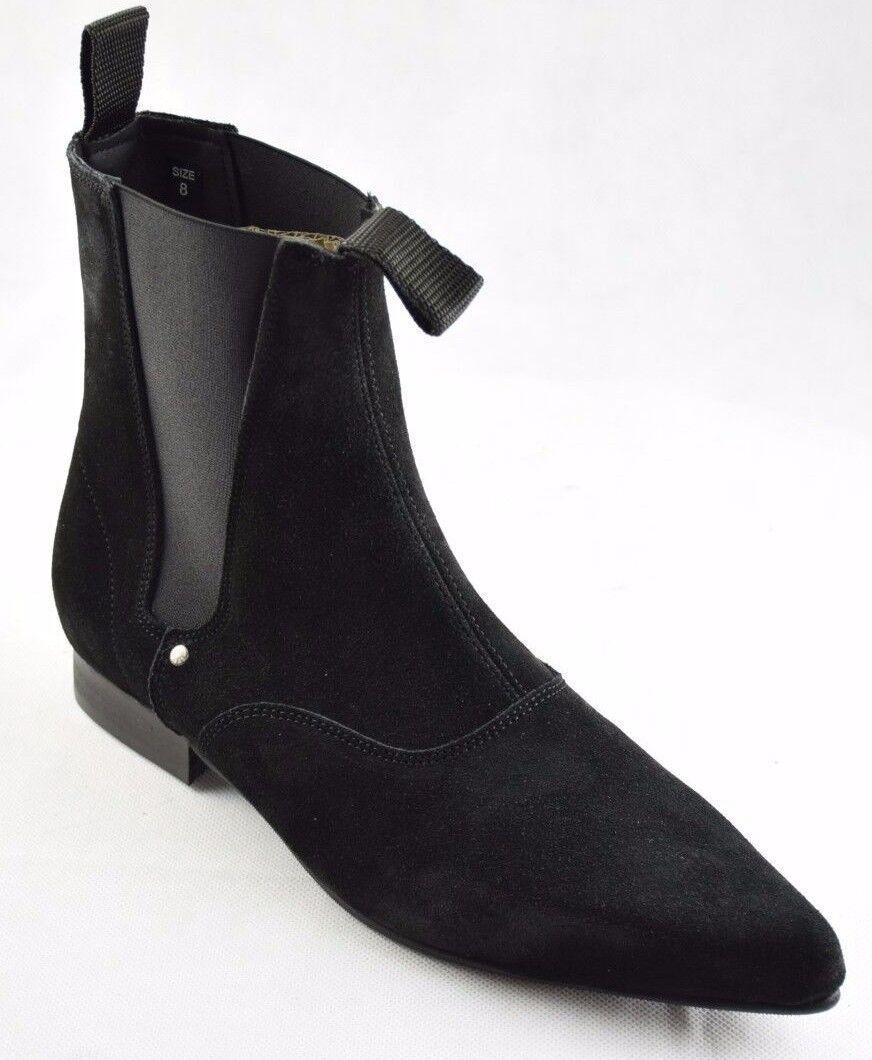 Steel Ground schwarz Suede Chelsea Stiefel Ankle Boot Winklepicker Sb003Z4