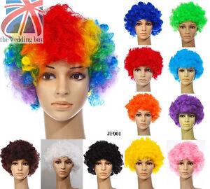 12-color-Rizado-Afro-Disfraz-de-Moda-Peluca-Discoteca-Payaso-Hombre-Mujer-Traje