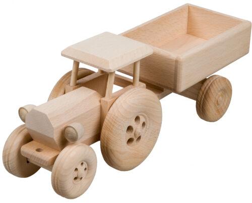 Trecker mit Anhänger Traktor Bauernhof Holztrecker Schlepper Buchenholz L 34 cm