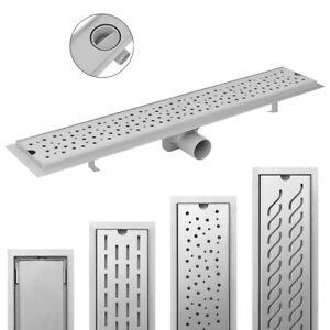 Linear-Floor-Shower-Drain-Bathroom-Channel-Multi-Sizes-Patterns-Stainless-Steel