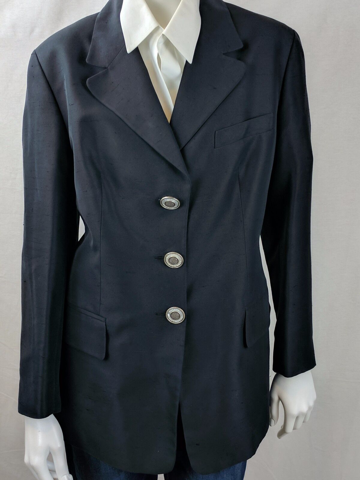 ESCADA ELEMENTS VTG WOMENS COTTON & SILK BLAZER ESCADA COAT SZ 14 EURO 44