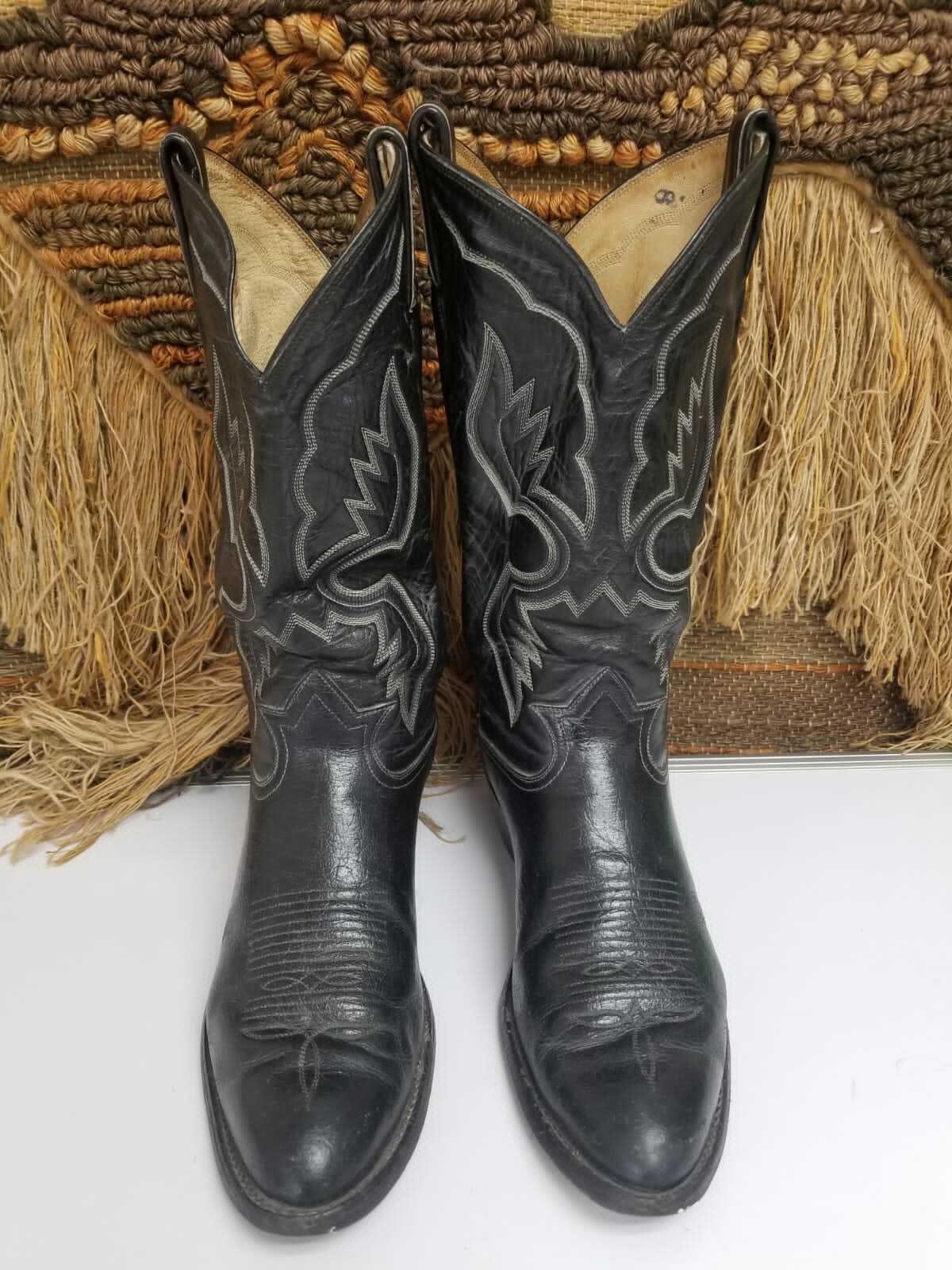 Tony Lama Mens Black Leather Cowboy Western Boots 3513 Size US 9 D