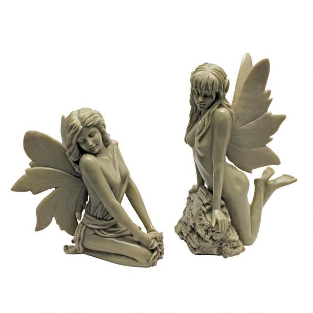 Set Of 2 Magical Garden Fairy Collection Kneeling Leaning Winged Statues