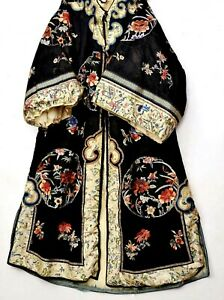 1930's Chinese Silk Embroidery Winter Lady Robe with Heavy Fur Coat Inner Lining