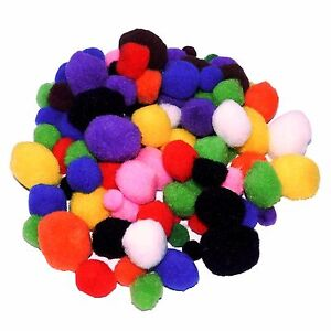 Craft Pom Poms Pack Size 100 Assorted Colours And Sizes Kids Crafts