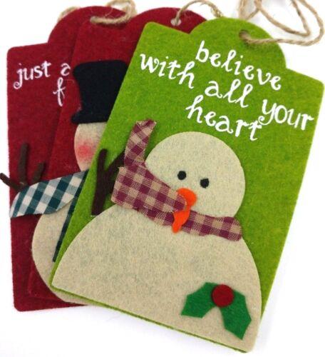 Cute Snowman Felt Christmas Ornaments Red Green Set of 3 Farmhouse Nostalgic