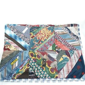 Neck Tie Lap Blanket Quilt Homemade Vintage Boho Style