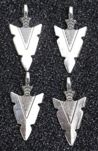 10 Arrow Head Charms Pendants Antiqued Silver 1.2 inch Set Craft Bulk Lot