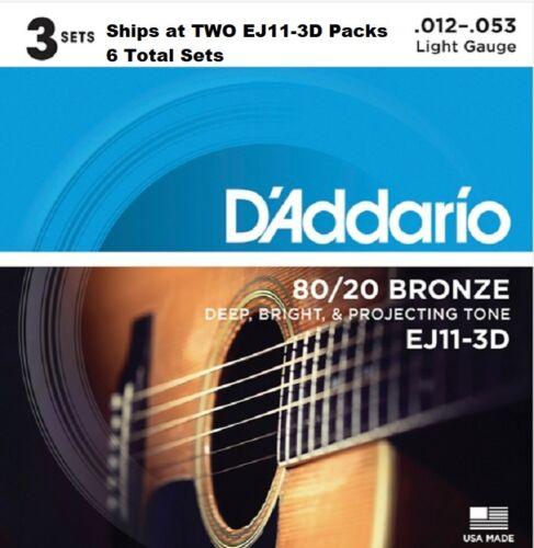 6 Sets D/'Addario EJ11-3D Light Acoustic Guitar Strings 80//20 Bronze 12-53 EJ11